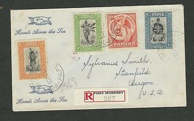 Papua 1939 Port Moresby to Oregon in US Cover x 1