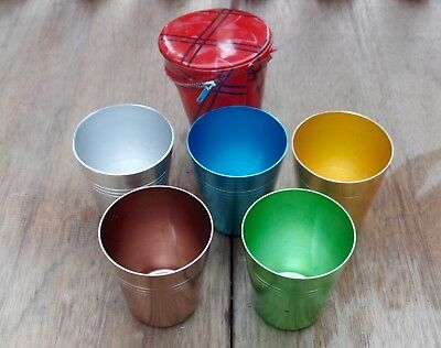 5 X Retro Anodised Vintage Aluminium CUP Set & Zip Up Case