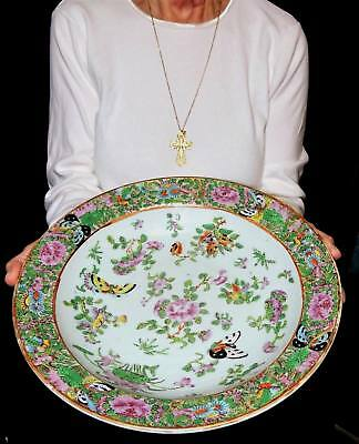 Antique Chinese Export Porcelain Large Rose Canton Low Bowl ca. 1860