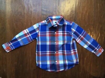 Janie and Jack Boys Blue Plaid Long Sleeved Dress Shirt 18-24 Months