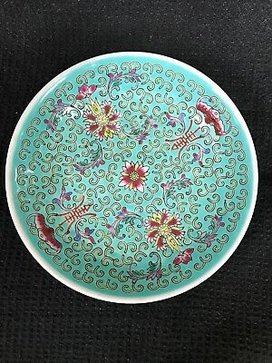 """Vintage Chinese Turquoise Lotus Pattern Small Plates 5.5"""" Set Of 12"""