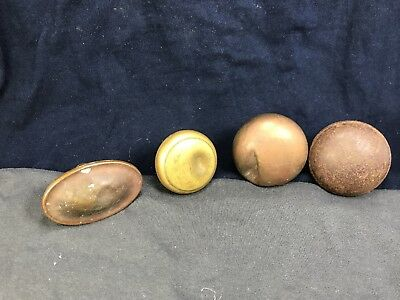 Antique Brass Doorknobs Victorian Set Of 4 Vintage Bronze Deco Old Lot Round Ova