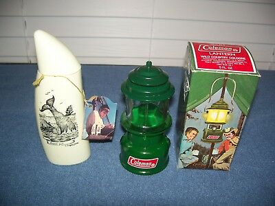 Vintage Old Spice Whale Tooth Replica Decanter & Coleman Lantern Avon Both Empty