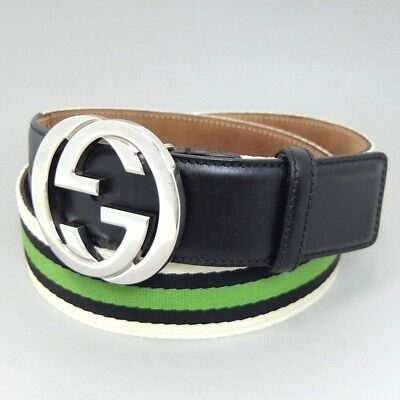 49ba2e483a5 Auth GUCCI Belt Interlocking Silver GG Buckle 114984 White Black Green  Sherry
