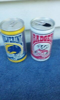 2 Diff 1984 Wiswonsin Badger & Wolverine Aluminum Soda Can Cans