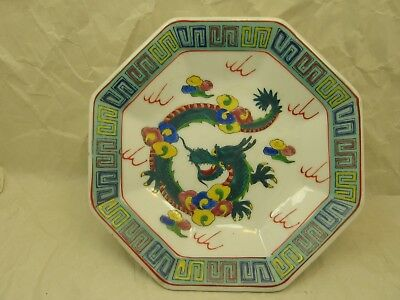 Vintage Chinese 6 Inch Octagon Plate with Dragon Motif and Qianlong Mark