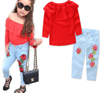 Kids Baby Girl Outfit Off Shoulder Cotton T-shirt Tops+Long Pants Jeans Clothes