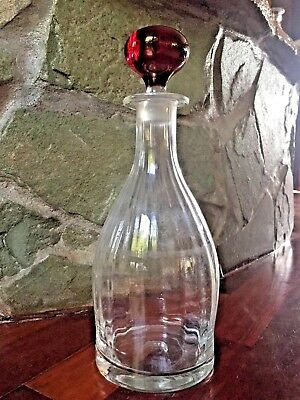Antique Vintage Thick Clear Glass Decanter W. Solid Ruby Red Blown Ball Stopper