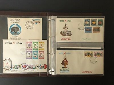 Middle East Muscat Oman 1980s - 90s selection of nice cacheted FDCs