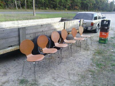 Vintage Mid Century Modern Curved Back Wood and metal Chairs set lot of