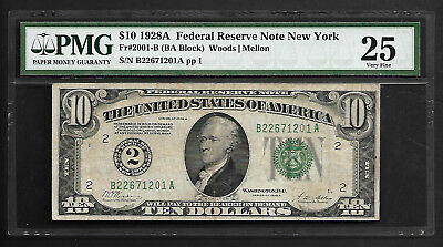 1928a $10 New York Federal Reserve Note PMG 25 Very Fine Scarce Note Numerical 2