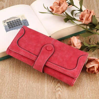 Vintage Women Wallet PU Leather Frosted Stitching Purse Wallet Clip Bag S4