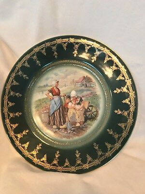 Vintage Royal Vienna farm scene plates have the blue beehive mark