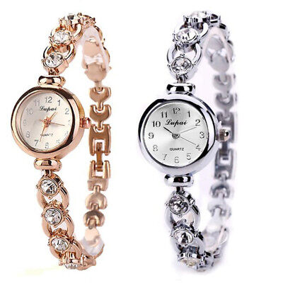 Women's Crystal Silver Gold Dial Bangle Bracelet Round Watch Wrist Watch Fashion