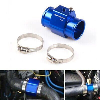 38mm Water Temp Temperature Joint Pipe Sensor Gauge Radiator Hose Adapter Blue