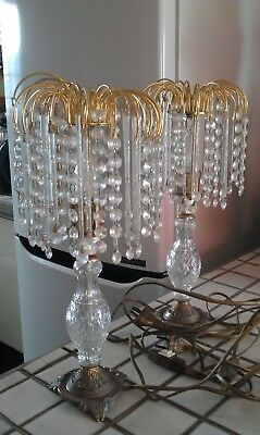 pair of vintage crystal? chandelier and brass lamps - 42cms tall