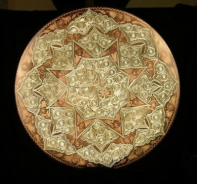 Large Copper Tooled Decorative Plate Platter With Wall Hanging Loop 14 75