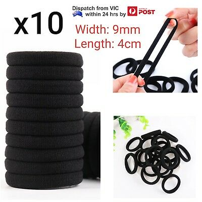 10x Black Soft Stretch Elastic Hair Ties Head Band Ponytail School Girl Ladies
