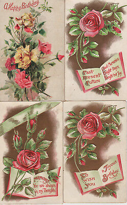 Four Vintage Birthday Greetings Postcards pink roses, gold background