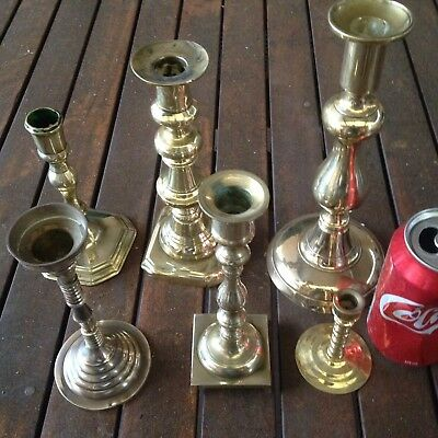 6 X Brass Candle Stick Holders Vintage Brass Ware Collectable