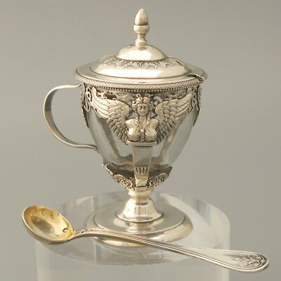 18C Antique French Sterling Silver Crystal Mustard Condiment Pot Serving Spoon