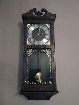 Vintage Pendulum Wall Clock wooden wind up chiming working