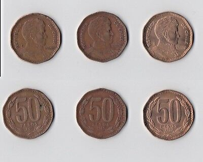 CHILE - 3 OLD COINS - 50 PESOS - 1981/82/85 - Please check scans before bidding!