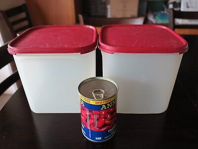 Tupperware Modular Mate Squares #3 - set of 2 - cranberry lids
