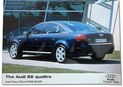 Audi S6 Quattro Press Release Photograph. 1999