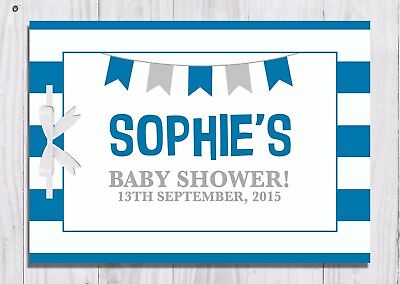 PERSONALISED Baby Shower Guest Book, Keep Sake, Game, Blue, Bunting, Baby Boy