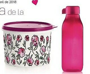 Tupperware BOTE 1,1L + BOTELLA 500ML FLORES