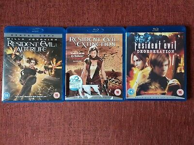 3x Resident Evil Blu-Ray movies (Afterlife, Extinction, Degeneration)