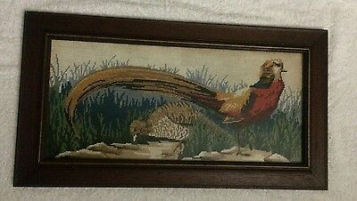 Rare Vintage Framed Pheasant Hand Worked in 70's Tapestry Under Glass
