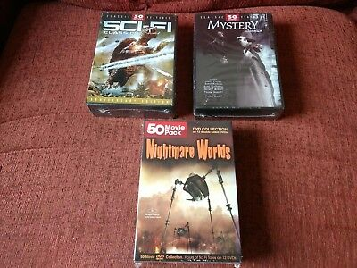 Job lot of 150 movies on DVD (sealed boxsets) Sci-Fi, Mystry, Nightmare Worlds