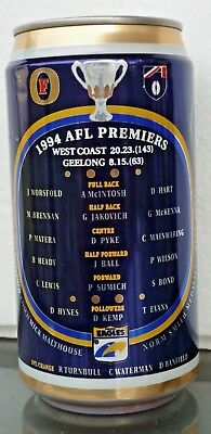 Collectable beercans - Fosters 1994 AFL Premiers (West Coast vs Geelong) can