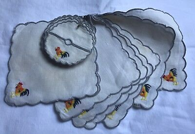 """Vintage Rooster Cocktail Napkins & Coasters White & Gray Linen Clean 5""""x5"""" Lot 9"""