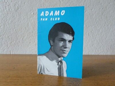 Carte Fan club Adamo  3 dédicaces originales 1965 rare