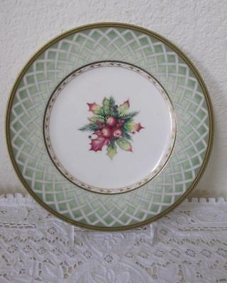 "Fitz and Floyd Green Wreath Winter Holiday Salad 9 1/4"" Plate Christmas"
