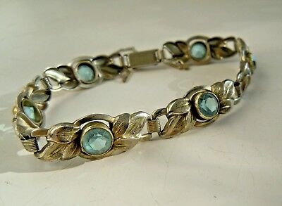 very RARE Antique Art Deco Double Bracelet with aquamarine stones