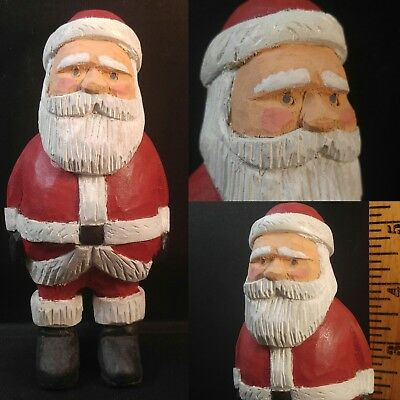 Santa Claus Hand Carved Wood NC Folk Art Standing Figure Artist Signed Dated