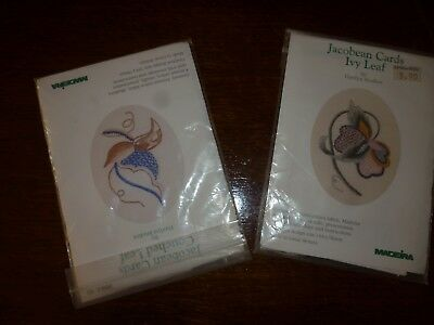 Pair of Jacobean embroidery greetings card complete kits by Madeira