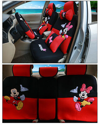2018NEW Mickey Minnie Mouse Car Seat Covers Cushion Accessories 18pcs 801