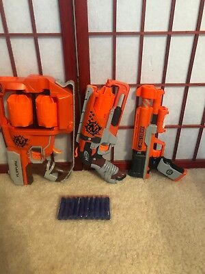 Lot of Zombie Strike Nerf Foam Dart Guns - 3 Blasters Darts- FLIPFURY HAMMERSHOT