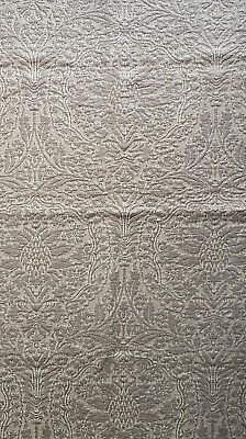 Designer Fabric Lizzo Refer. Forutuny Silver Metallic Brocatelle Look Quality!