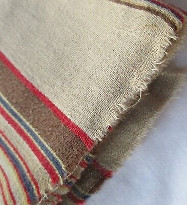 Vintage Cotton Ticking Fabric Tan Striped French Nice Quality!
