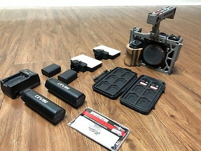 Sony Alpha A7R II Camera w/ Varavon Cage, Cards, Gear Lot NO RESERVE! Mint!