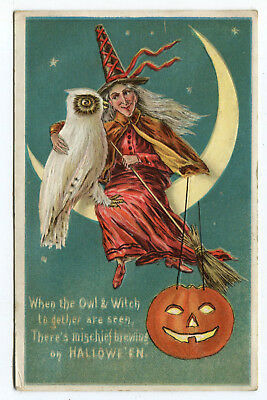 Antique Halloween Postcard Owl & Witch On The Moon With Jack-O-Lantern 1919 Used