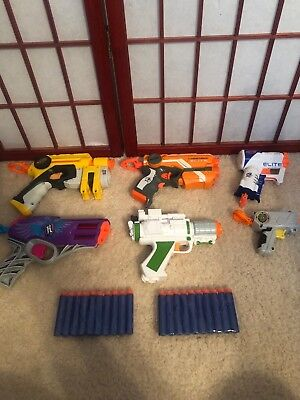 Lot of Nerf Foam Dart Single Shot Guns Blasters with Darts - Party Pack of 6