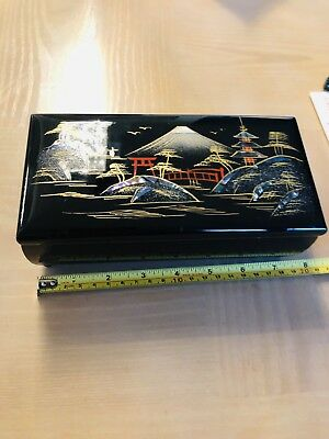 Vintage Beautiful Black Lacquer Mother Of Pearl Jewelry Music Box Japan