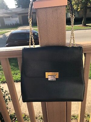 Vintage Koret Black Bag Purse Gold Silver Hardware Rare